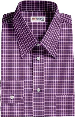 Checked Purple/White Dress Shirt With Neck Tie