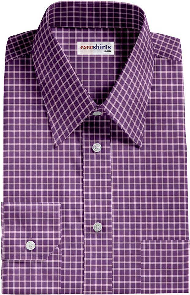 checked purple white dress shirt execshirts