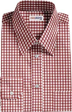Men's Red Checked Dress Shirts 2