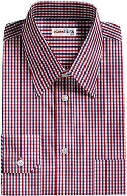 Men's Red/Blue Checked Dress Shirts