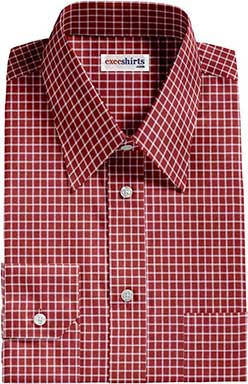 Checked Red/White Dress Shirt With Neck Tie