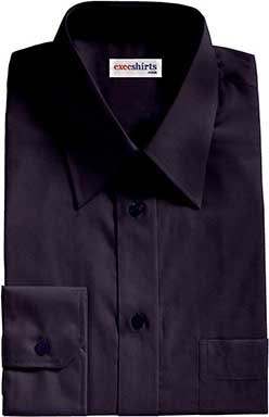 Dark Blue Broadcloth Dress Shirts