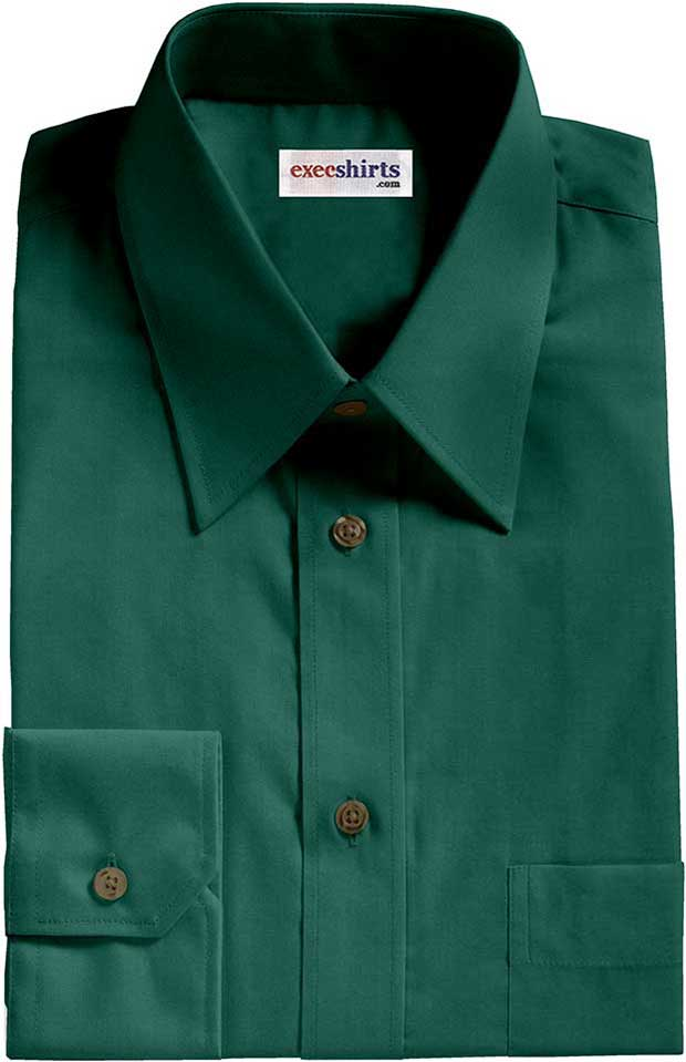 Dark Green Broadcloth Dress Shirt
