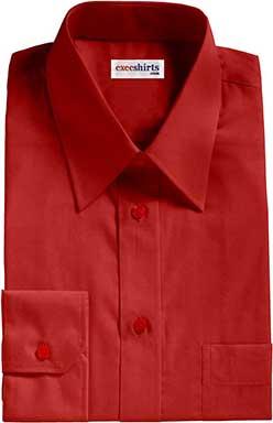 Dark Red Broadcloth Dress Shirt