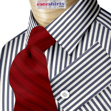 Navy Blue Egyptian Cotton Striped Dress Shirts