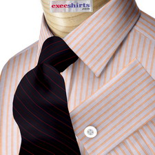 Lt. Blue/Orange Striped Egyptian Cotton Dress Shirts