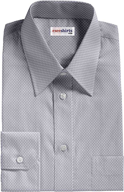 Gray Checked Weave Dress Shirt