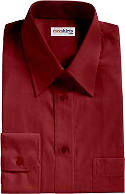 Maroon Broadcloth Dress Shirt