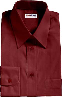 Maroon Oxford Dress Shirt