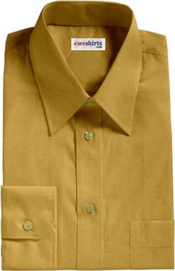 Mustard Yellow Broadcloth Dress Shirt