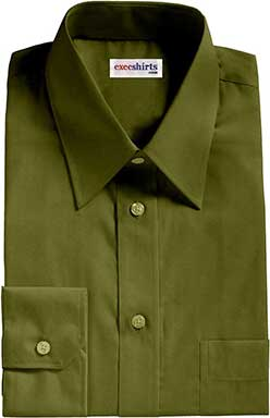 Olive Green Broadcloth Dress Shirt