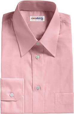 Pink Birdeye Pinpoint Dress Shirts With Neck Tie