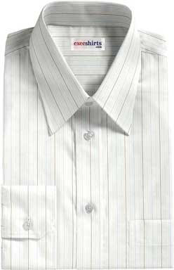 Brown-Light Blue Striped Dress Shirt