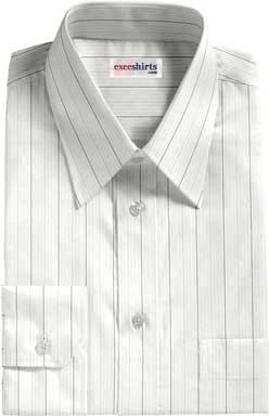 Brown-Gray Striped Dress Shirt