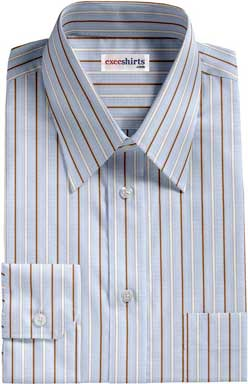 Brown-White Striped Dress Shirt