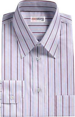 Dark Brown-White Striped Dress Shirt