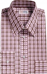 Brown-Pink Checked Dress Shirt