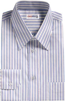 Blue-Red Striped Dress Shirt