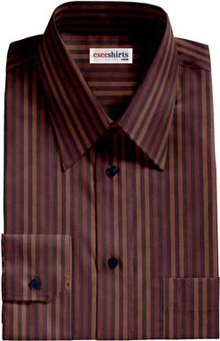 Brown-Light Brown Striped Dress Shirt
