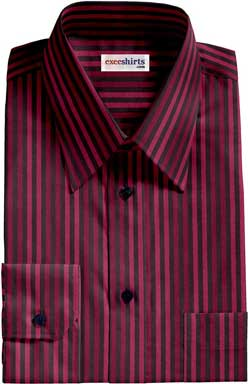 Red-Maroon Striped Dress Shirt