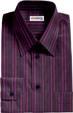 Purple-Purple Striped Dress Shirt