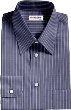 Navy Blue Shirt With White Pinstripes