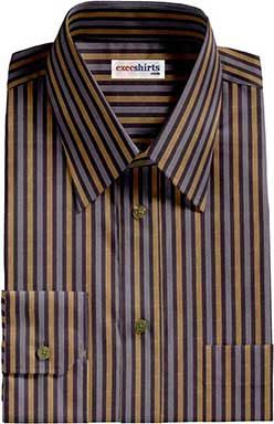 Black/Gold/Gray Striped Dress Shirt With Neck Tie