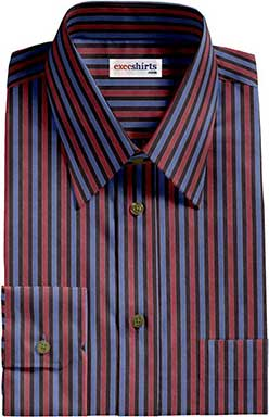 Black/Red/Blue Striped Dress Shirt With Neck Tie