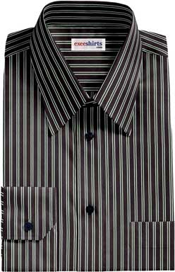 Black-Green Striped Dress Shirt