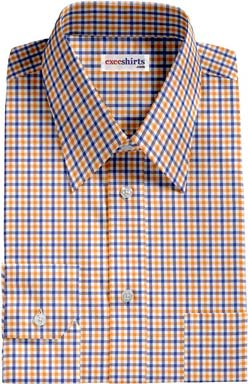 Orange-Blue Checked Dress Shirt