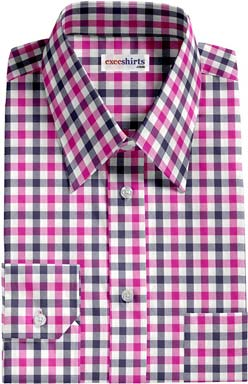 Pink-Navy Large Checked Dress Shirt