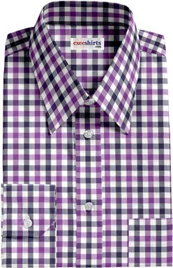 Purple-Navy Large Checked Dress Shirt