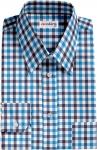 Aqua-Navy Large Checked Dress Shirt