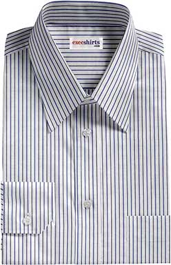 Striped Black/Blue Dress Shirt With Neck Tie