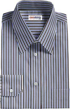 Black/Blue Striped Dress Shirt 2 With Neck Tie