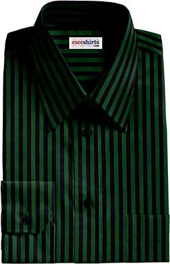Black/Green Striped Dress Shirts With Neck Tie