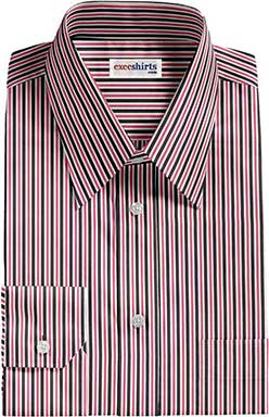 Black/Pink Striped Dress Shirt With Neck Tie
