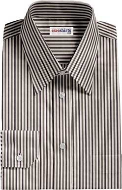 Black/Gray Striped Dress Shirts With Neck Tie