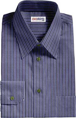 Striped Blue/Blue Dress Shirt With Neck Tie