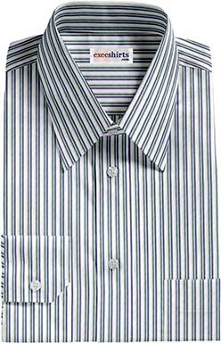 Blue/Green Striped Dress Shirt With Neck Tie