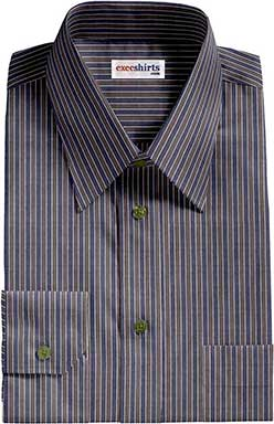 Striped Blue/Gray Dress Shirt With Neck Tie