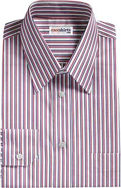 Blue/Red Striped Dress Shirt With Neck Tie