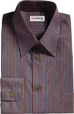 Striped Blue/Red Dress Shirt With Neck Tie