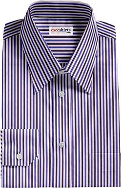 Blue Striped Dress Shirt With Neck Tie