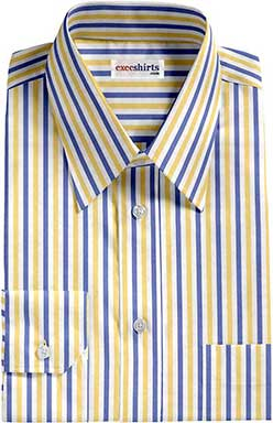 Blue/Yellow Striped Dress Shirt With Neck Tie