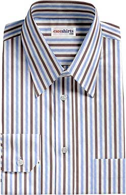 Brown/Lt. Blue Striped Dress Shirt With Neck Tie