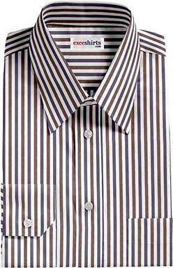 Brown/Navy Striped Dress Shirt With Neck Tie