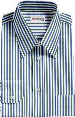 Green/Blue Striped Dress Shirt With Neck Tie