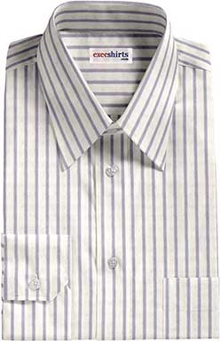 Grey Light Blue Striped Dress Shirts With Neck Tie