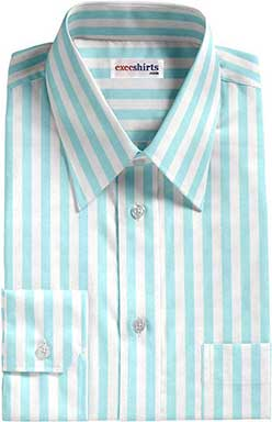 Aqua Large Striped Dress Shirt With Neck Tie